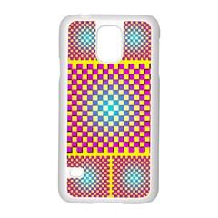 Rotational Plaid Purple Blue Yellow Samsung Galaxy S5 Case (White)