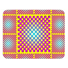 Rotational Plaid Purple Blue Yellow Double Sided Flano Blanket (Large)