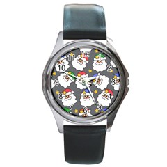 Santa Claus Face Mask Crismast Round Metal Watch