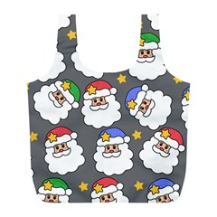 Santa Claus Face Mask Crismast Full Print Recycle Bags (l)