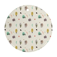 Slippers Lamp Glasses Ice Cream Grey Wave Water Ornament (Round)