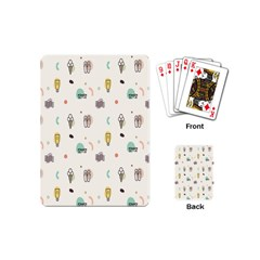 Slippers Lamp Glasses Ice Cream Grey Wave Water Playing Cards (Mini)