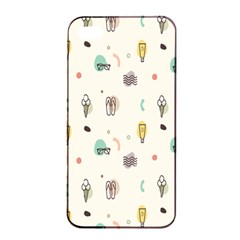 Slippers Lamp Glasses Ice Cream Grey Wave Water Apple iPhone 4/4s Seamless Case (Black)