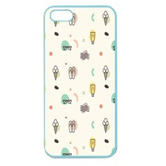 Slippers Lamp Glasses Ice Cream Grey Wave Water Apple Seamless iPhone 5 Case (Color)