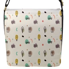 Slippers Lamp Glasses Ice Cream Grey Wave Water Flap Messenger Bag (S)