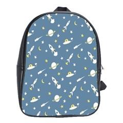 Space Saturn Star Moon Rocket Planet Meteor School Bags (XL)