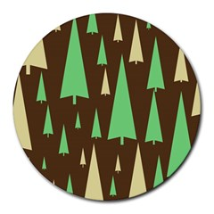 Spruce Tree Grey Green Brown Round Mousepads