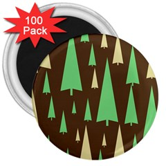 Spruce Tree Grey Green Brown 3  Magnets (100 pack)