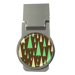 Spruce Tree Grey Green Brown Money Clips (Round)