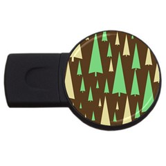 Spruce Tree Grey Green Brown USB Flash Drive Round (1 GB)