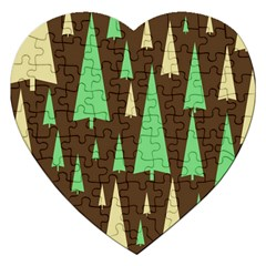 Spruce Tree Grey Green Brown Jigsaw Puzzle (Heart)