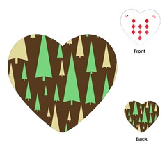 Spruce Tree Grey Green Brown Playing Cards (Heart)
