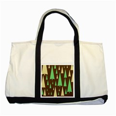 Spruce Tree Grey Green Brown Two Tone Tote Bag
