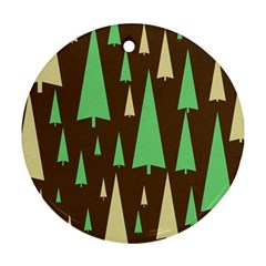 Spruce Tree Grey Green Brown Round Ornament (Two Sides)