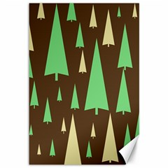 Spruce Tree Grey Green Brown Canvas 12  x 18