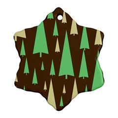 Spruce Tree Grey Green Brown Snowflake Ornament (two Sides)