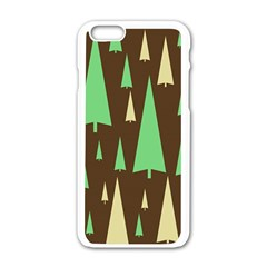 Spruce Tree Grey Green Brown Apple iPhone 6/6S White Enamel Case