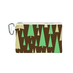 Spruce Tree Grey Green Brown Canvas Cosmetic Bag (S)