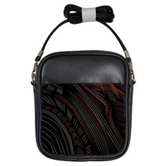 Trailer Drax Line Brown White Chevron Galaxy Space Girls Sling Bags