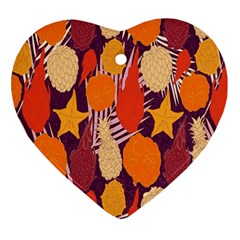 Tropical Mangis Pineapple Fruit Tailings Ornament (Heart)