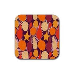 Tropical Mangis Pineapple Fruit Tailings Rubber Coaster (Square)