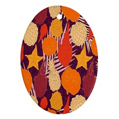 Tropical Mangis Pineapple Fruit Tailings Oval Ornament (Two Sides)