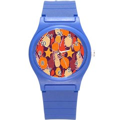 Tropical Mangis Pineapple Fruit Tailings Round Plastic Sport Watch (S)