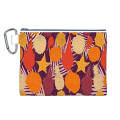 Tropical Mangis Pineapple Fruit Tailings Canvas Cosmetic Bag (l)