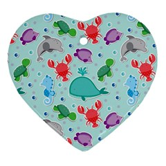 Turtle Crab Dolphin Whale Sea World Whale Water Blue Animals Ornament (heart)