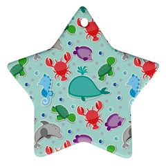 Turtle Crab Dolphin Whale Sea World Whale Water Blue Animals Ornament (star)