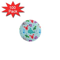 Turtle Crab Dolphin Whale Sea World Whale Water Blue Animals 1  Mini Magnets (100 pack)