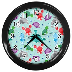 Turtle Crab Dolphin Whale Sea World Whale Water Blue Animals Wall Clocks (Black)