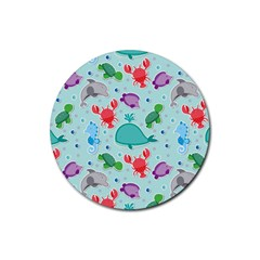 Turtle Crab Dolphin Whale Sea World Whale Water Blue Animals Rubber Coaster (Round)