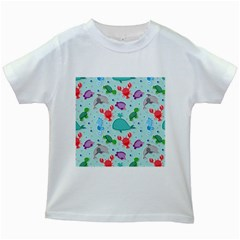 Turtle Crab Dolphin Whale Sea World Whale Water Blue Animals Kids White T-Shirts