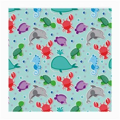 Turtle Crab Dolphin Whale Sea World Whale Water Blue Animals Medium Glasses Cloth (2-Side)