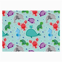 Turtle Crab Dolphin Whale Sea World Whale Water Blue Animals Large Glasses Cloth