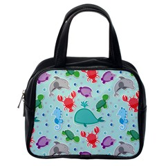 Turtle Crab Dolphin Whale Sea World Whale Water Blue Animals Classic Handbags (One Side)