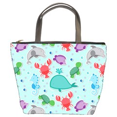 Turtle Crab Dolphin Whale Sea World Whale Water Blue Animals Bucket Bags