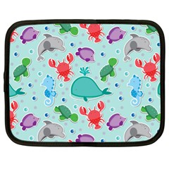 Turtle Crab Dolphin Whale Sea World Whale Water Blue Animals Netbook Case (XL)
