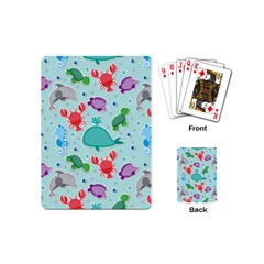 Turtle Crab Dolphin Whale Sea World Whale Water Blue Animals Playing Cards (Mini)