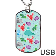 Turtle Crab Dolphin Whale Sea World Whale Water Blue Animals Dog Tag USB Flash (Two Sides)