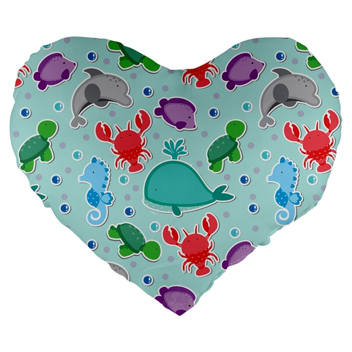 Turtle Crab Dolphin Whale Sea World Whale Water Blue Animals Large 19  Premium Heart Shape Cushions