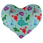 Turtle Crab Dolphin Whale Sea World Whale Water Blue Animals Large 19  Premium Heart Shape Cushions Back