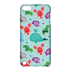 Turtle Crab Dolphin Whale Sea World Whale Water Blue Animals Apple iPod Touch 5 Hardshell Case with Stand