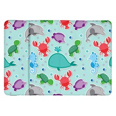 Turtle Crab Dolphin Whale Sea World Whale Water Blue Animals Samsung Galaxy Tab 8.9  P7300 Flip Case