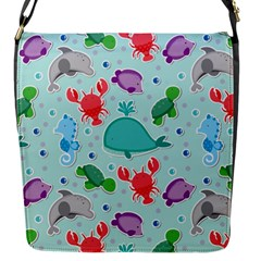 Turtle Crab Dolphin Whale Sea World Whale Water Blue Animals Flap Messenger Bag (S)