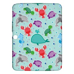 Turtle Crab Dolphin Whale Sea World Whale Water Blue Animals Samsung Galaxy Tab 3 (10.1 ) P5200 Hardshell Case
