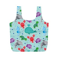Turtle Crab Dolphin Whale Sea World Whale Water Blue Animals Full Print Recycle Bags (m)