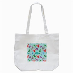 Turtle Crab Dolphin Whale Sea World Whale Water Blue Animals Tote Bag (White)
