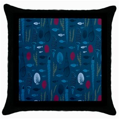 Sea World Fish Ccoral Blue Water Throw Pillow Case (Black)